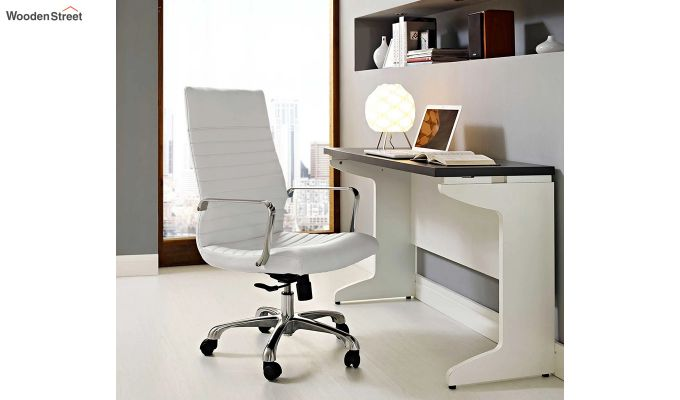 Sleek Line High Back Leatherette Executive Chair (White)-1
