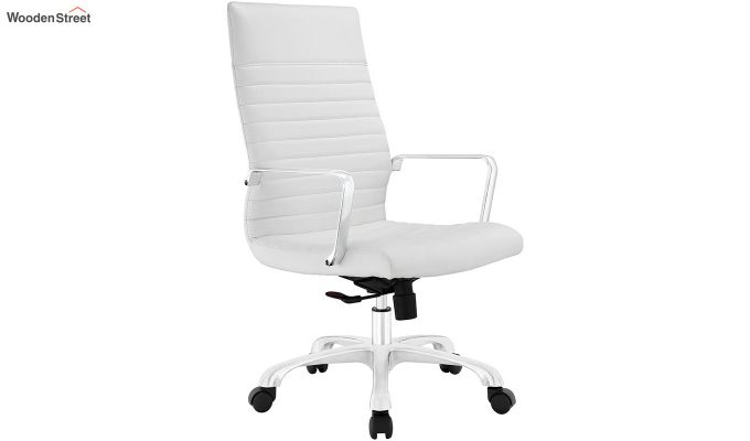 Sleek Line High Back Leatherette Executive Chair (White)-2