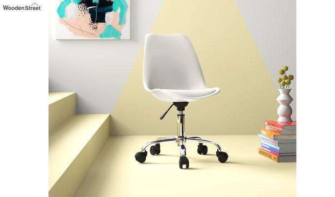Stylish Modern Rotary Chair (White)-1