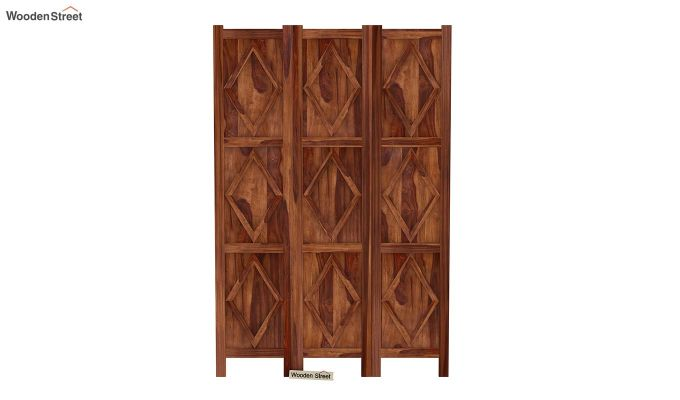 Cluster 3 Panel Room Partition (Teak Finish)-3