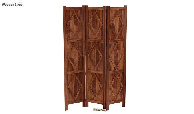 Cluster 3 Panel Room Partition (Teak Finish)-4