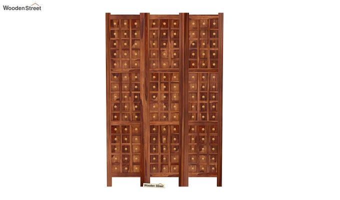 Umbra 3 Panel Room Partition (Teak Finish)-3