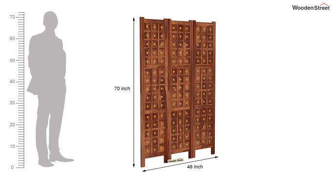Umbra 3 Panel Room Partition (Teak Finish)-6