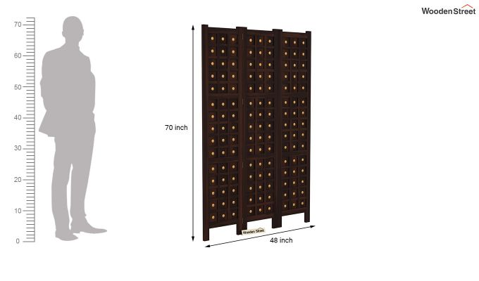 Umbra 3 Panel Room Partition (Walnut Finish)-6