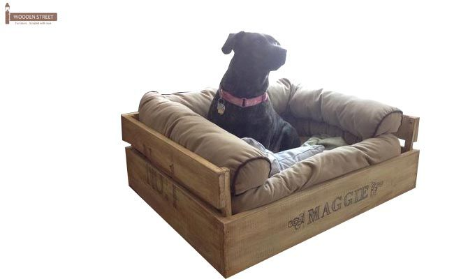 Paws Dog Bed (Natural Finish)-1