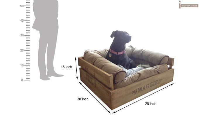 Paws Dog Bed (Natural Finish)-3