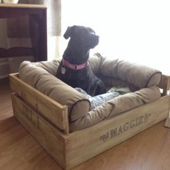 Paws Dog Bed (Natural Finish)