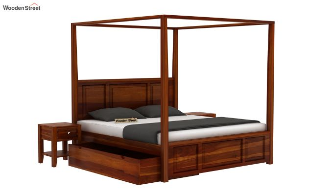 Attica Poster Bed With Storage (Queen Size, Honey Finish)-3