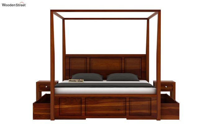 Attica Poster Bed With Storage (Queen Size, Honey Finish)-4