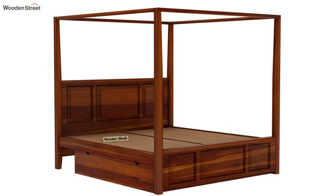 Attica Poster Bed With Storage (Queen Size, Honey Finish)-5