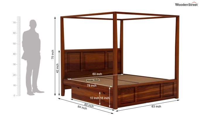 Attica Poster Bed With Storage (Queen Size, Honey Finish)-7