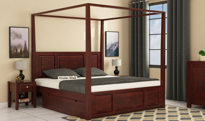 Attica Poster Bed With Storage (King Size, Mahogany Finish)-1