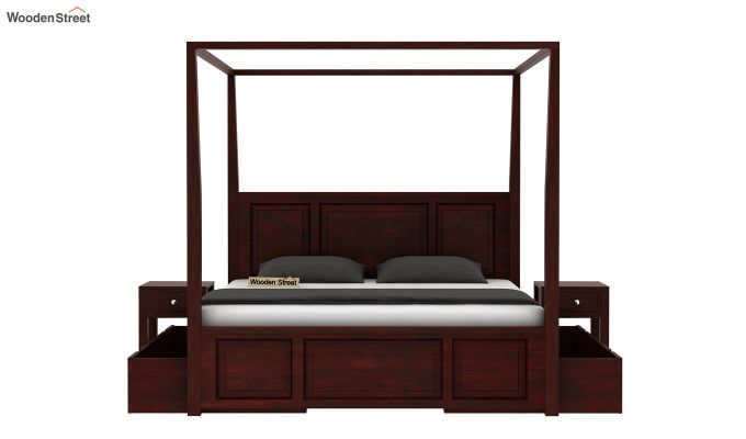 Attica Poster Bed With Storage (King Size, Mahogany Finish)-5