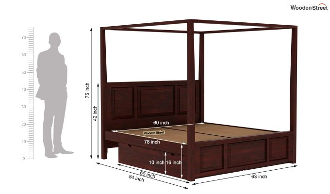 Attica Poster Bed With Storage (Queen Size, Mahogany Finish)-8