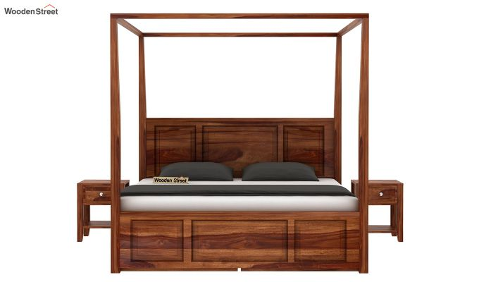 Attica Poster Bed With Storage (Queen Size, Teak Finish)-2