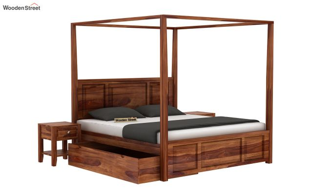 Attica Poster Bed With Storage (Queen Size, Teak Finish)-3
