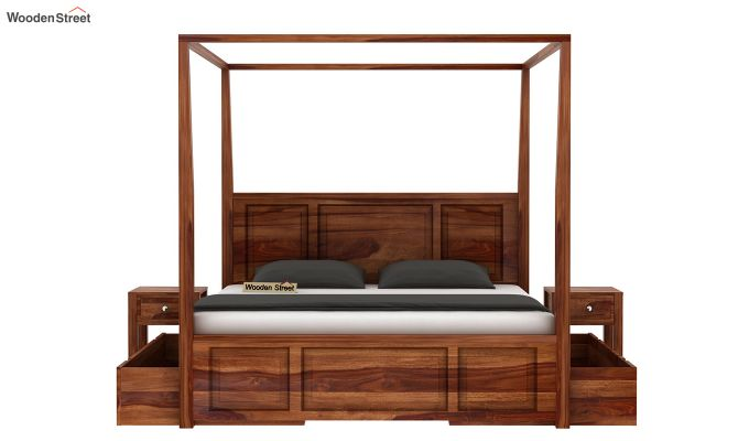Attica Poster Bed With Storage (Queen Size, Teak Finish)-4