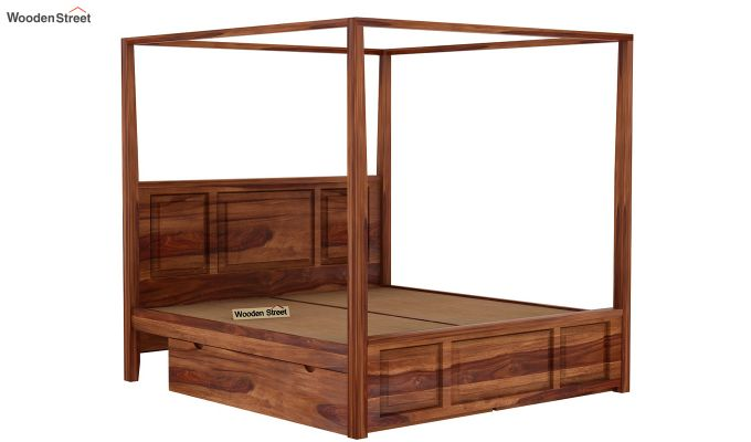 Attica Poster Bed With Storage (Queen Size, Teak Finish)-5