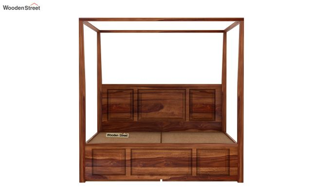 Attica Poster Bed With Storage (Queen Size, Teak Finish)-6