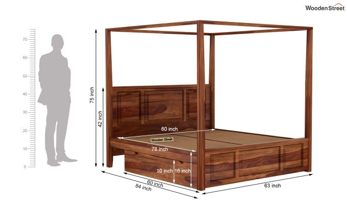 Attica Poster Bed With Storage (Queen Size, Teak Finish)-7
