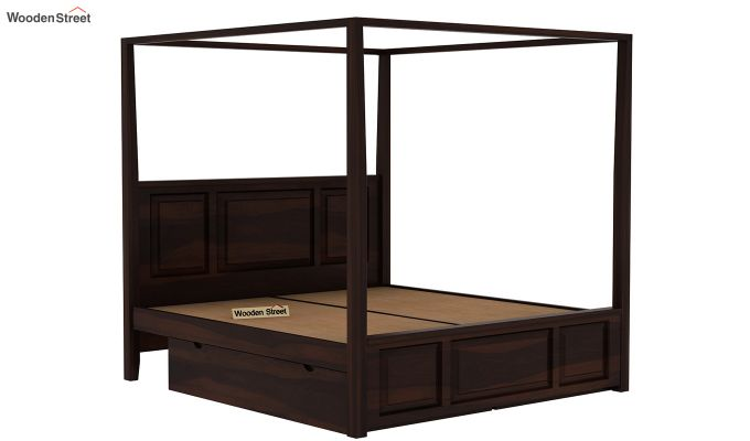 Attica Poster Bed With Storage (Queen Size, Walnut Finish)-5