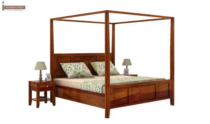 Attica Poster Bed Without Storage (Queen Size, Honey Finish)-1