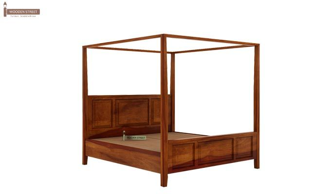 Attica Poster Bed Without Storage (Queen Size, Honey Finish)-2