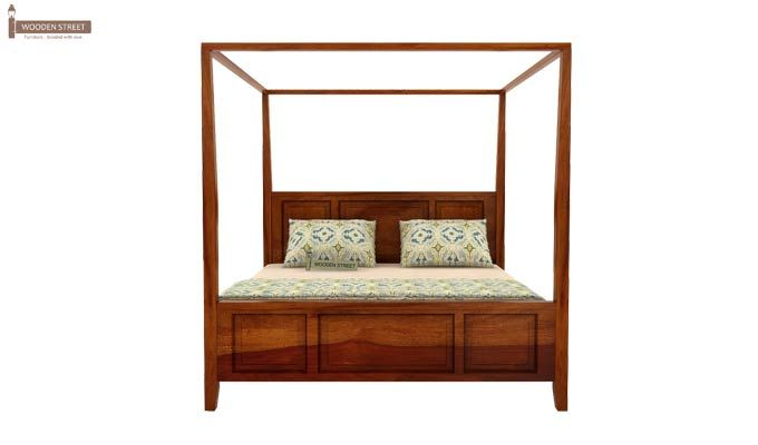 Attica Poster Bed Without Storage (Queen Size, Honey Finish)-4