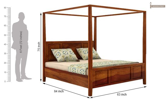 Attica Poster Bed Without Storage (Queen Size, Honey Finish)-5