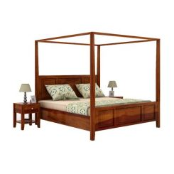 Attica Poster Bed Without Storage (Queen Size, Honey Finish)