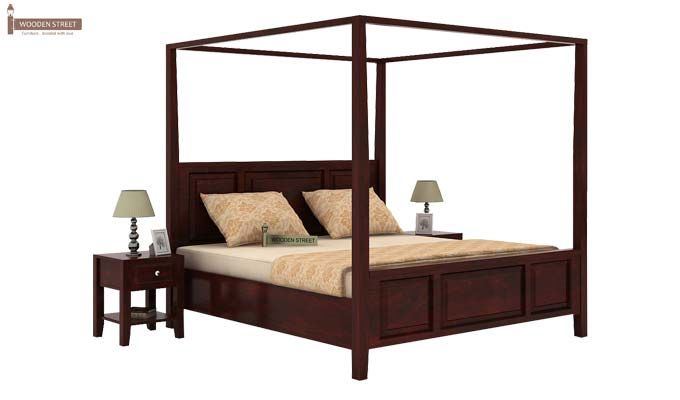 Attica Poster Bed Without Storage (King Size, Mahogany Finish)-2