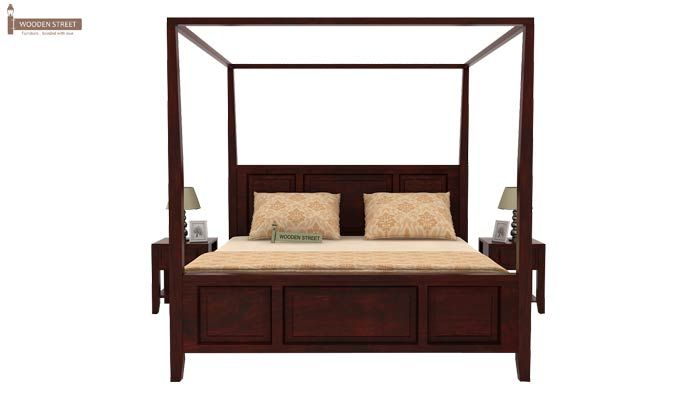 Attica Poster Bed Without Storage (King Size, Mahogany Finish)-3