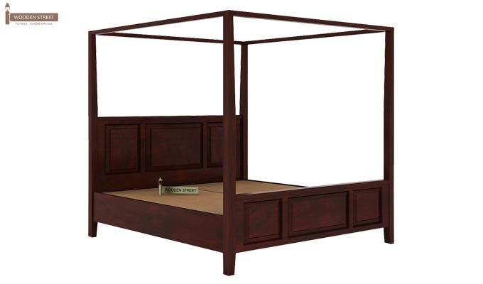 Attica Poster Bed Without Storage (King Size, Mahogany Finish)-5