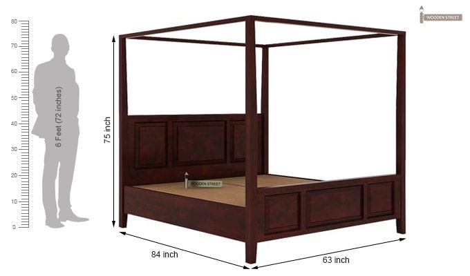 Attica Poster Bed Without Storage (Queen Size, Mahogany Finish)-6