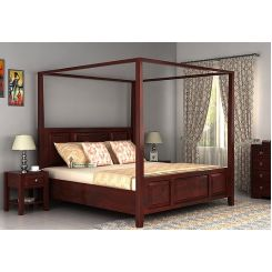 Attica Poster Bed Without Storage (Queen Size, Mahogany Finish)
