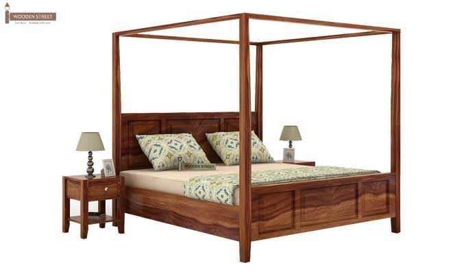 Attica Poster Bed Without Storage (King Size, Teak Finish)-1