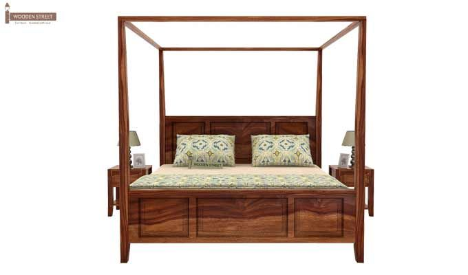 Attica Poster Bed Without Storage (King Size, Teak Finish)-2