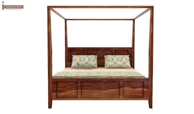 Attica Poster Bed Without Storage (King Size, Teak Finish)-3