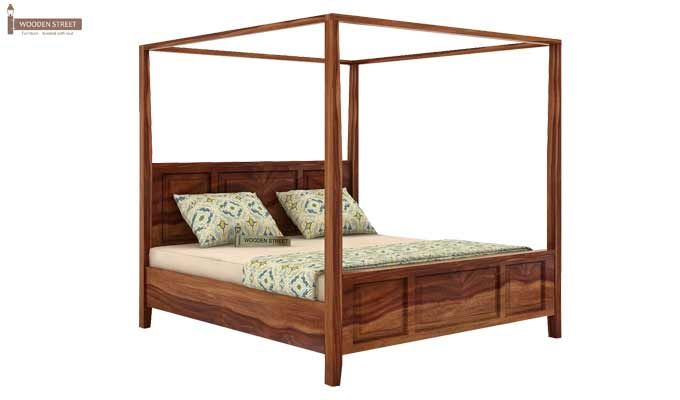 Attica Poster Bed Without Storage (King Size, Teak Finish)-4