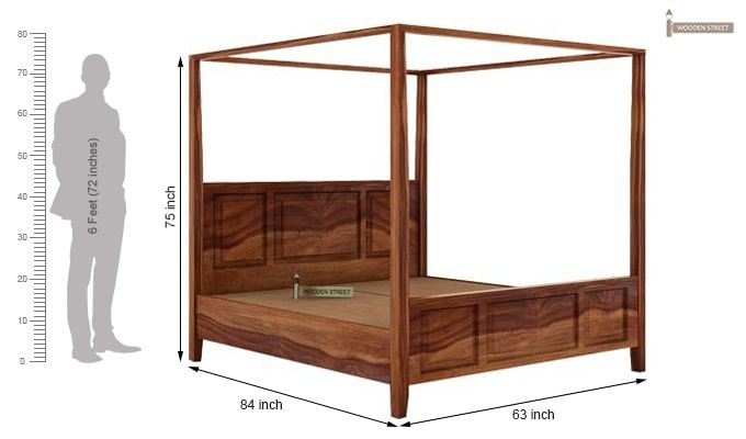 Attica Poster Bed Without Storage (Queen Size, Teak Finish)-6