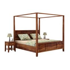 Attica Poster Bed Without Storage (King Size, Teak Finish)