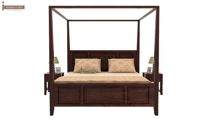 Attica Poster Bed Without Storage (Queen Size, Walnut Finish)-2