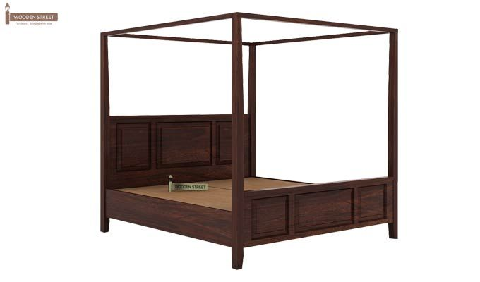 Attica Poster Bed Without Storage (Queen Size, Walnut Finish)-5