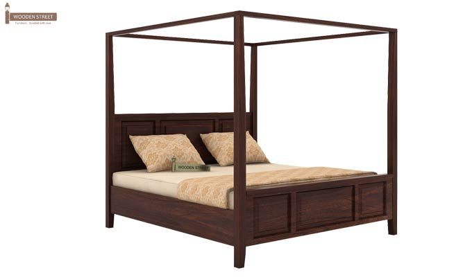Attica Poster Bed Without Storage (Queen Size, Walnut Finish)-3