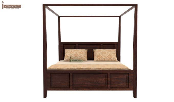 Attica Poster Bed Without Storage (Queen Size, Walnut Finish)-4