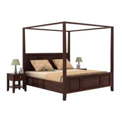Attica Poster Bed Without Storage (King Size, Walnut Finish)