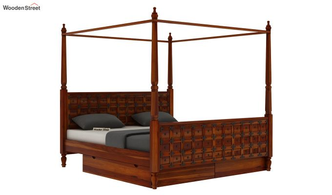 Citadel Poster Bed With Storage (King Size, Honey Finish)-4