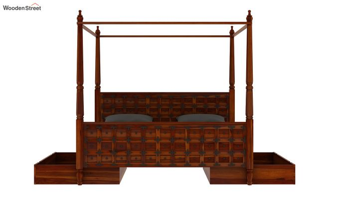 Citadel Poster Bed With Storage (Queen Size, Honey Finish)-8