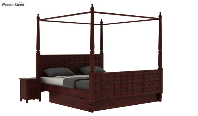 Citadel Poster Bed With Storage (King Size, Mahogany Finish)-2