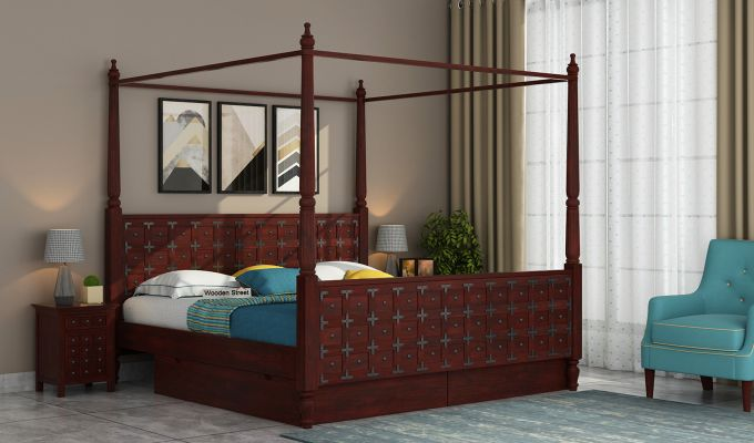 Citadel Poster Bed With Storage (Queen Size, Mahogany Finish)-1